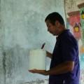 aplicacion de pintura blanca